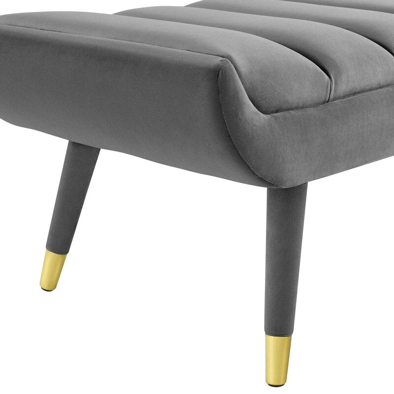 Gray Mackay Upholstered Bench For Bedroom Or Entryway Gold Details Homeyoak