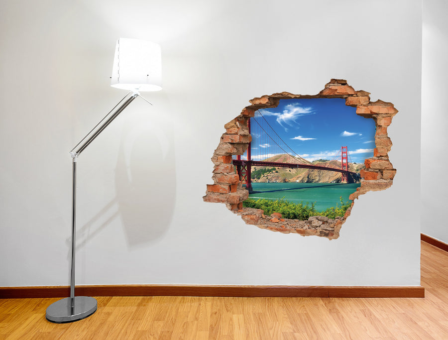 3D Art stenska nalepka GOLDEN GATE MOST - 3D036 - Life-decor.si