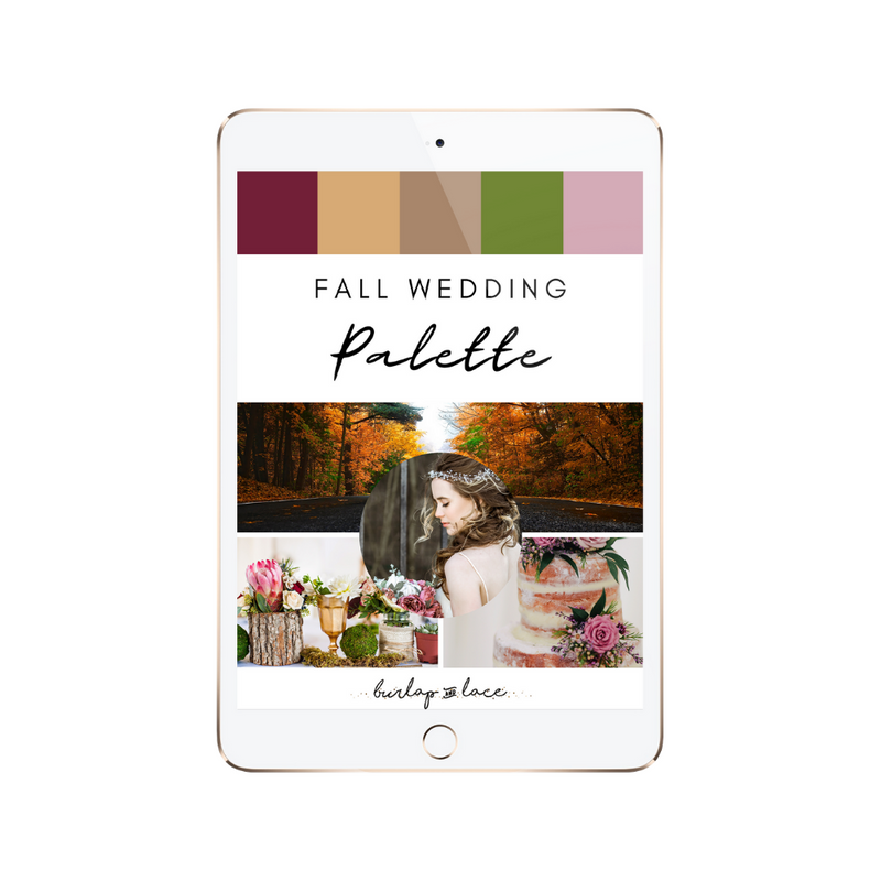 FREE Fall Wedding Colors Palette Inspiration - Burlap & Lace
