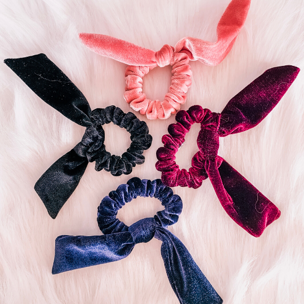 Multi-colored velvet scrunchies