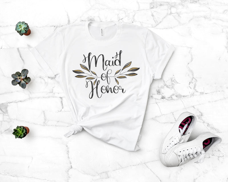 Floral Maid of Honor Tee - Burlap & Lace