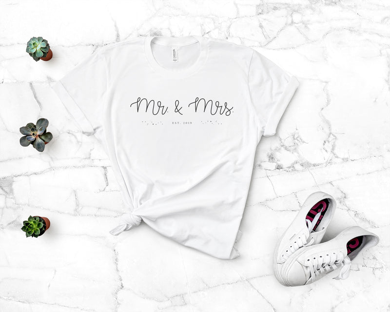 Mr. & Mrs. Personalized (Classic Tee) - Burlap & Lace