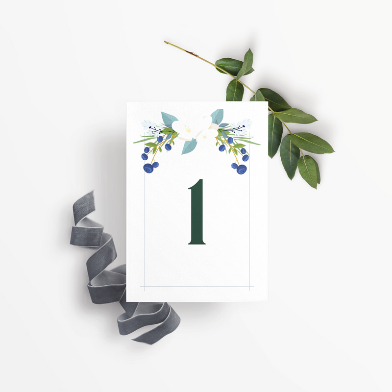 Blueberry Blossoms Table Numbers - Burlap & Lace