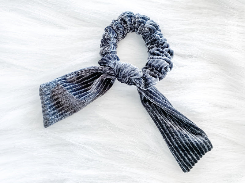 gray striped velvet scrunchie