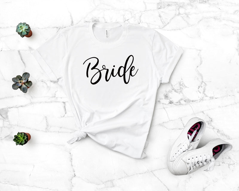 Bride White T-Shirt - Burlap & Lace