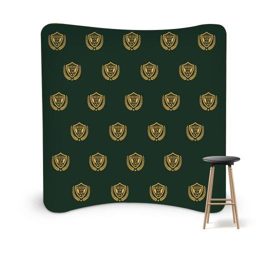 8 ft x 8 ft Step & Repeat Curved Pillow Case Backdrop
