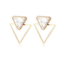 Load image into Gallery viewer, Marble Stud Triangle Earrings