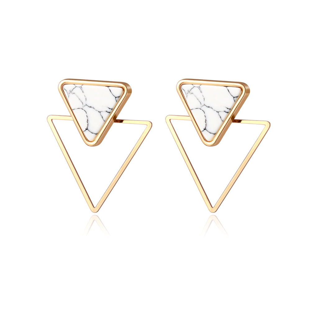 Marble Stud Triangle Earrings