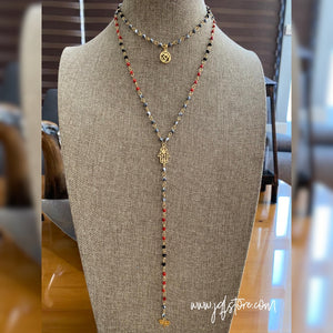 Collar Doble Ojitos Hamsa y Om M2