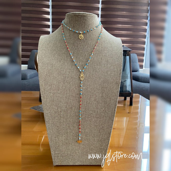 Collar Doble Ojitos Hamsa y Om