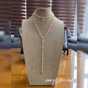 Collar Doble Mini Perla Hamsa y Om