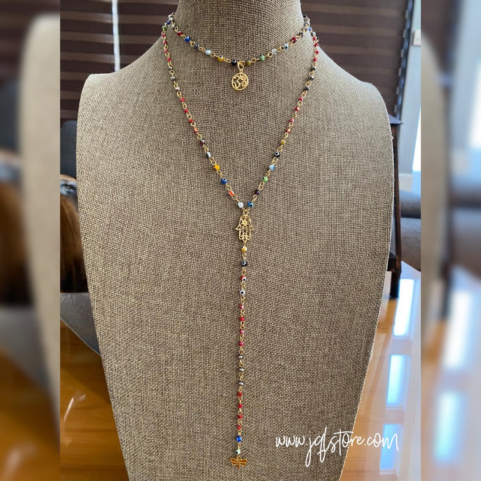 Collar Doble Ojitos Hamsa y Om M3