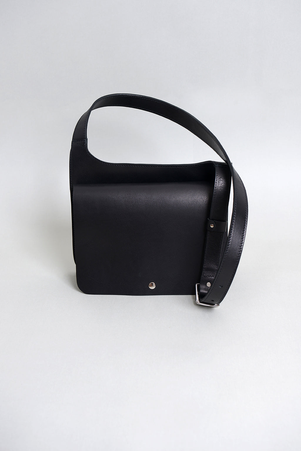 Handcrafted Black Leather Small Hip Satchel