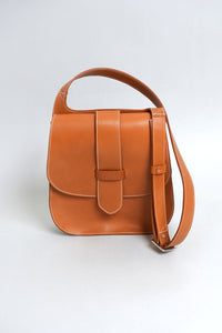 Handcrafted Tan Leather 70's Style Saddle Bag