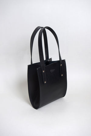 Handcrafted Black Leather Small seamed tote