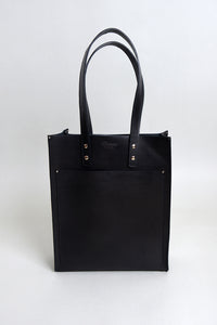 Handcrafted Black Leather Pocket Tote
