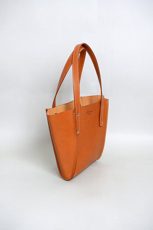 Handcrafted Tan Leather Small seamed tote