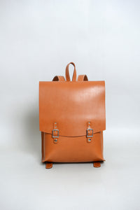 Handcrafted Tan Leather Old School Backpack
