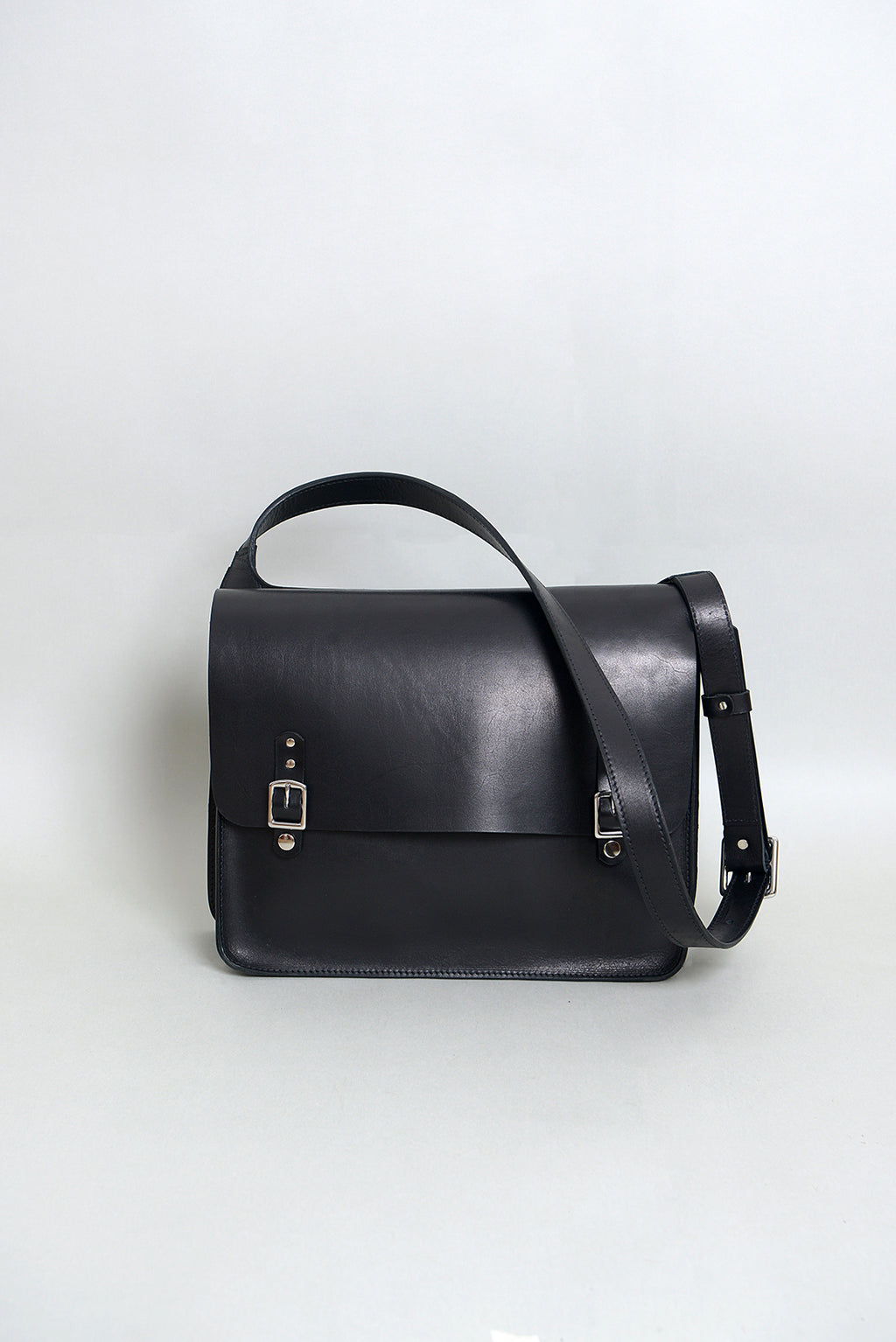 Handcrafted Black Leather Messenger Bag