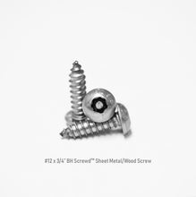 "Load image into Gallery viewer, #12 x 3/4"" Button Head Screwd® Security Sheet Metal/Wood Screw Made out of Stainless Steel"