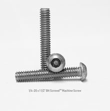 "Load image into Gallery viewer, 1/4-20 x 1 1/2"" Button Head Screwd® Security  Machine Screw Made out of Stainless Steel"