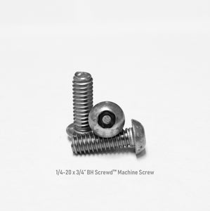 "1/4-20 x 3/4"" Button Head Screwd® Security  Machine Screw Made out of Stainless Steel"