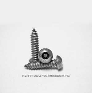 "#14 x 1"" Button Head Screwd® Security Sheet Metal/Wood Screw Made out of Stainless Steel"