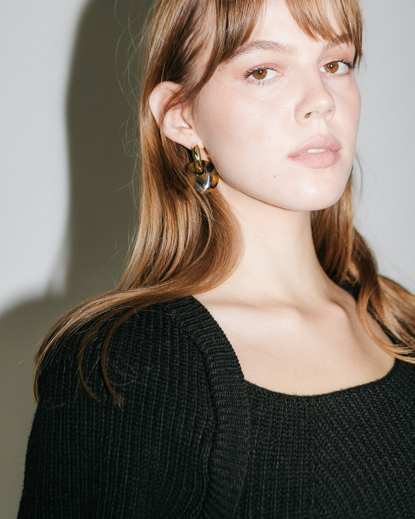 Chunky Gold Hoops with Tort Charm