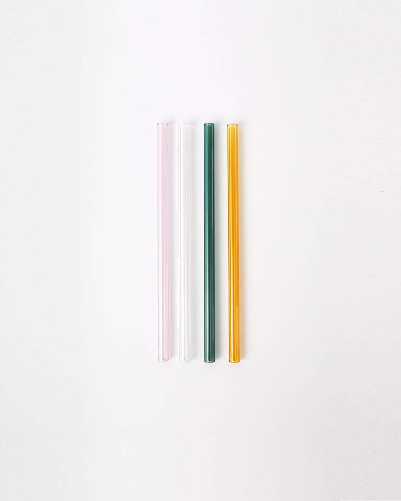 Multi Coloured Glass Straw - Set of 4