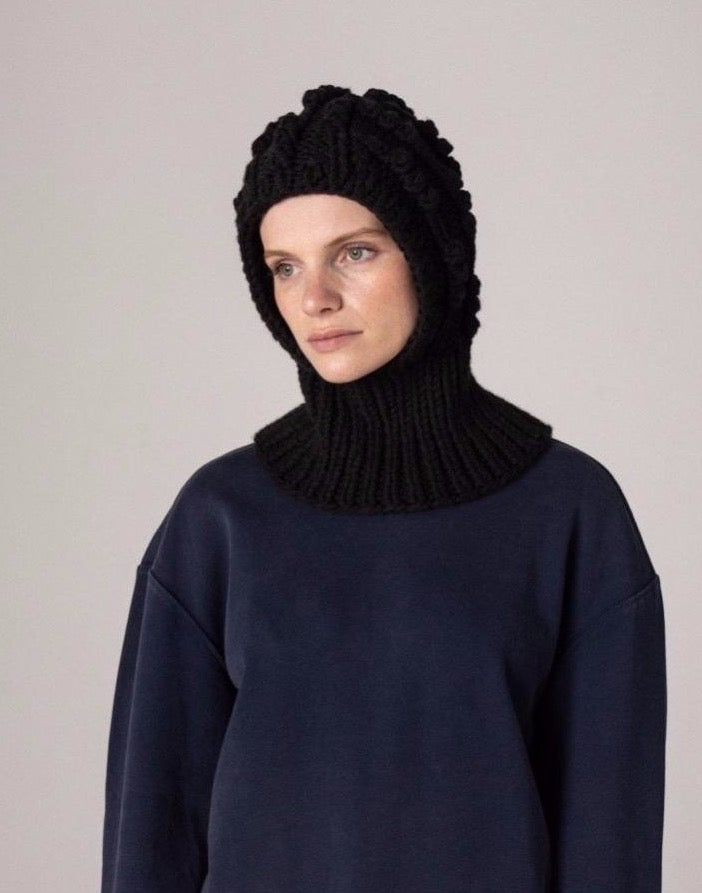 Cable Knit Balaclava - Black