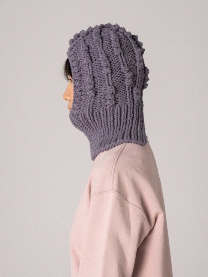 Cable Knit Balaclava - Grey
