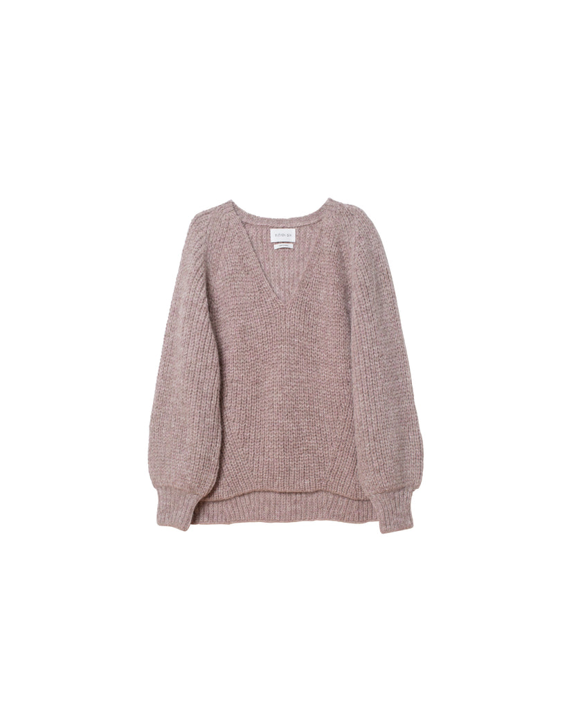 Tess V-Neck Sweater - Pink Heather