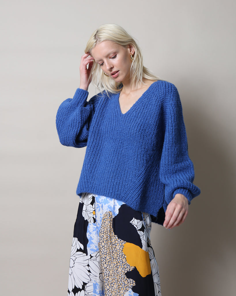 Tess V-Neck Sweater - Azul