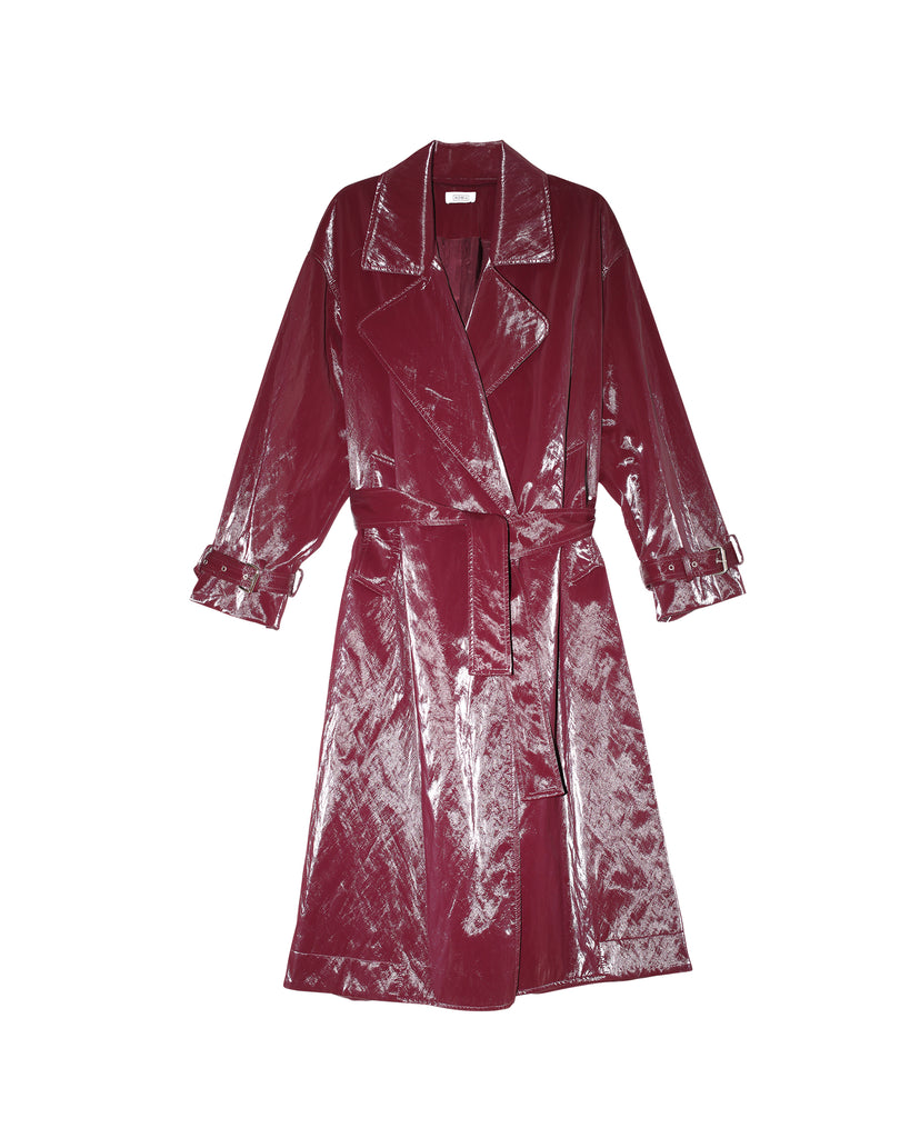 Shiny Belted Trench Coat