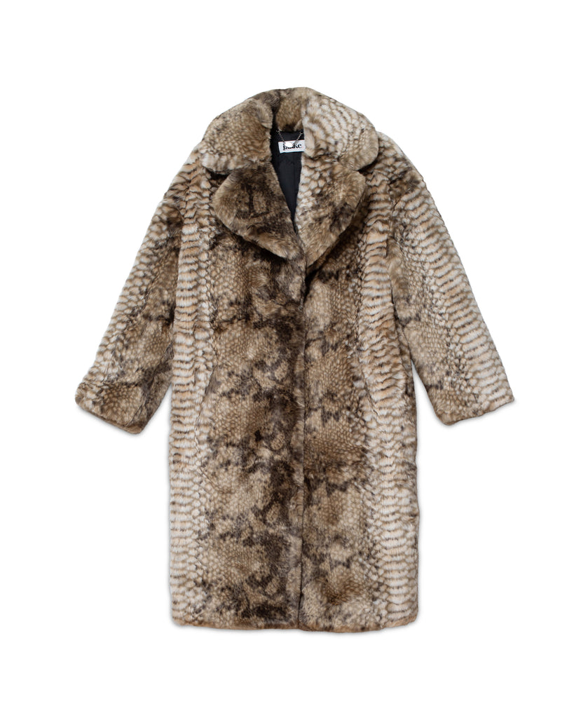 Katie Faux Fur Coat - Snake