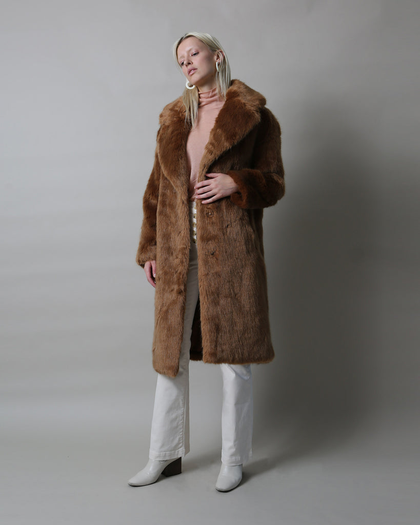 Katie Faux Fur Coat - Chestnut