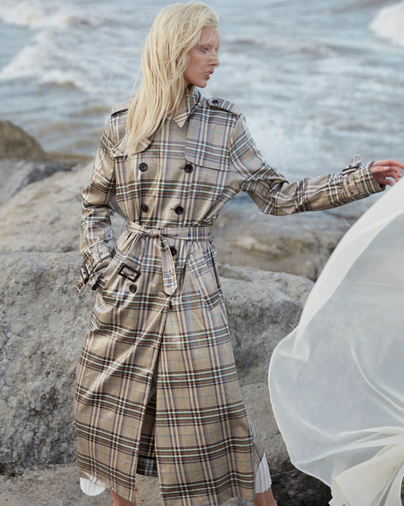 The Handsome Coated Plaid Trench