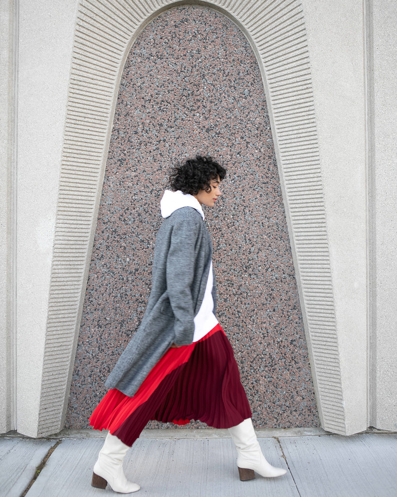 Colour Blocked Pleated Skirt