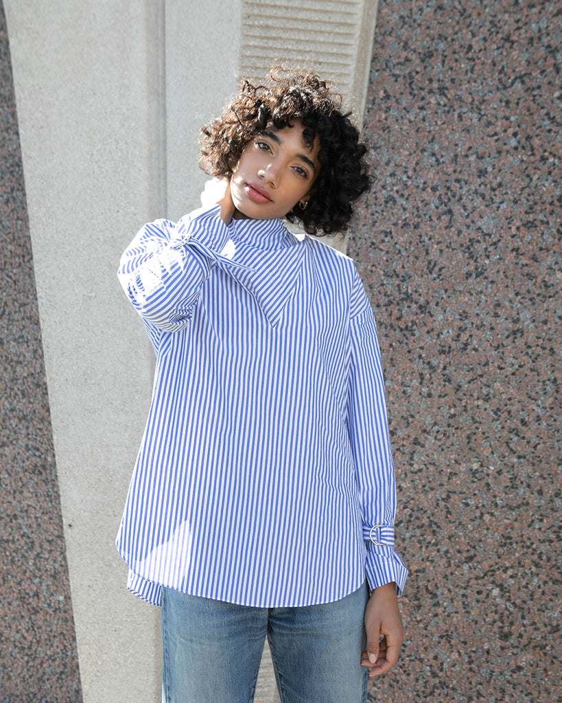 Striped Cowl Neck Shirt