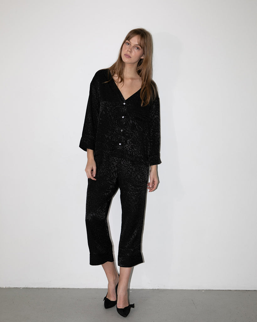 Piped Lounge Pant - Black
