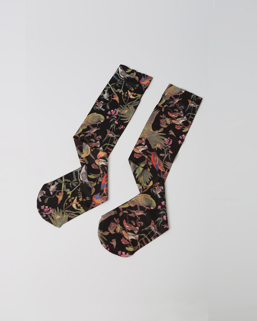 Black Bird Print Sock