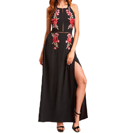Black Backless Appliques Dress