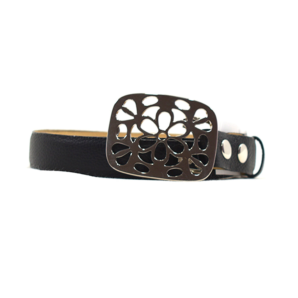 Bloom Black Leather Belt - Chica It Boutique