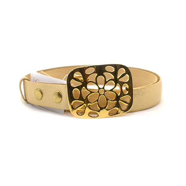 Bloom Gold Leather Belt