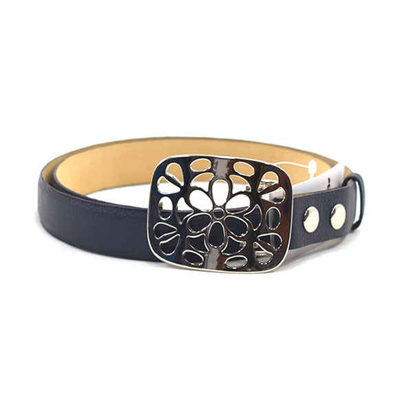 Bloom Navy Leather Belt