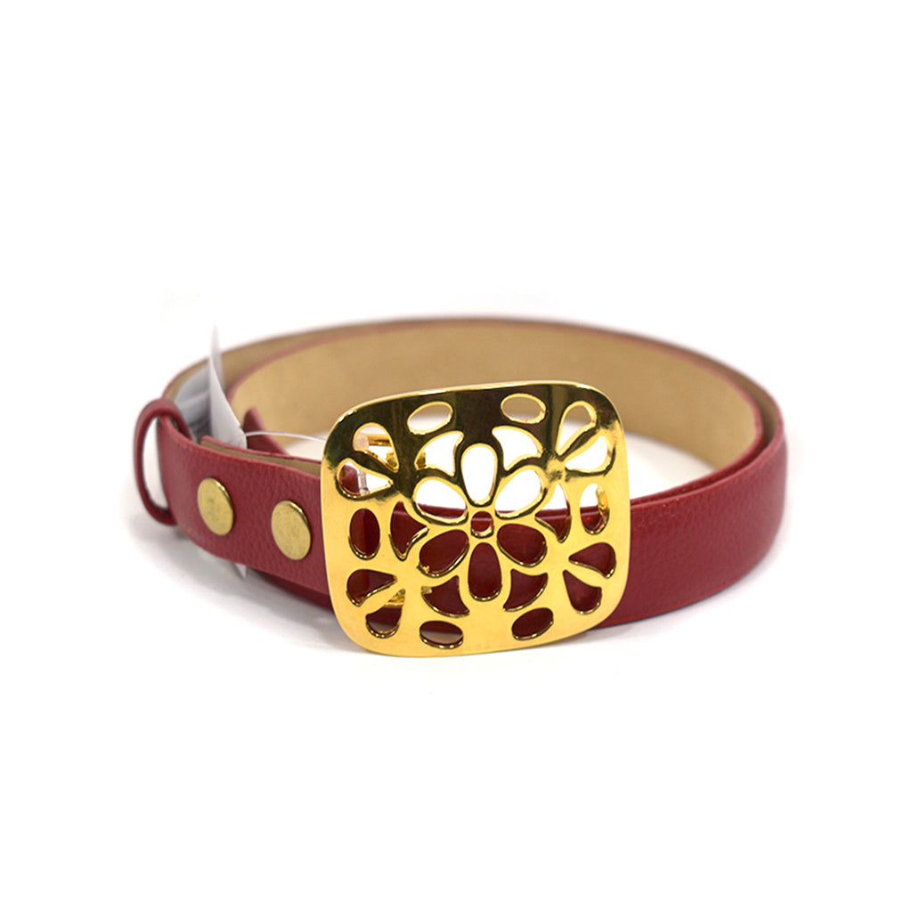 Bloom Red Leather Belt - Chica It Boutique