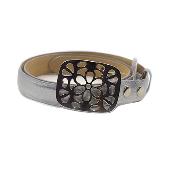 Bloom Silver Leather Belt - Chica It Boutique