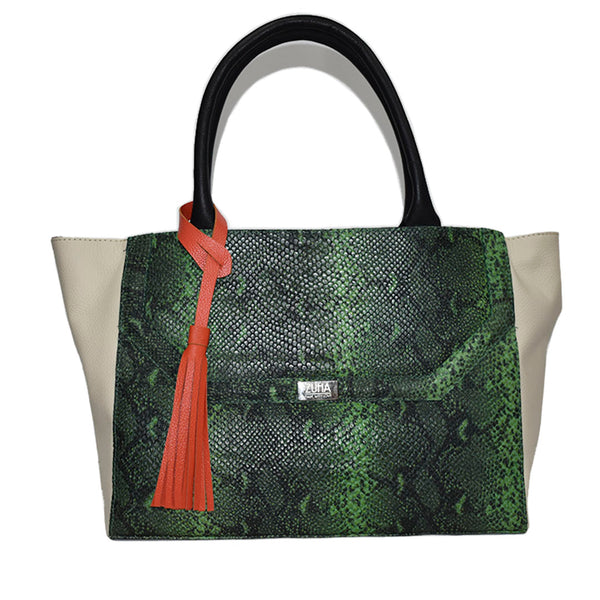 Madison Green and Pearl Python Leather Handbag