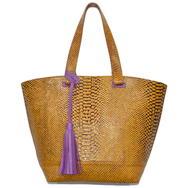 Python Leather Tote Bag - Chica It Boutique