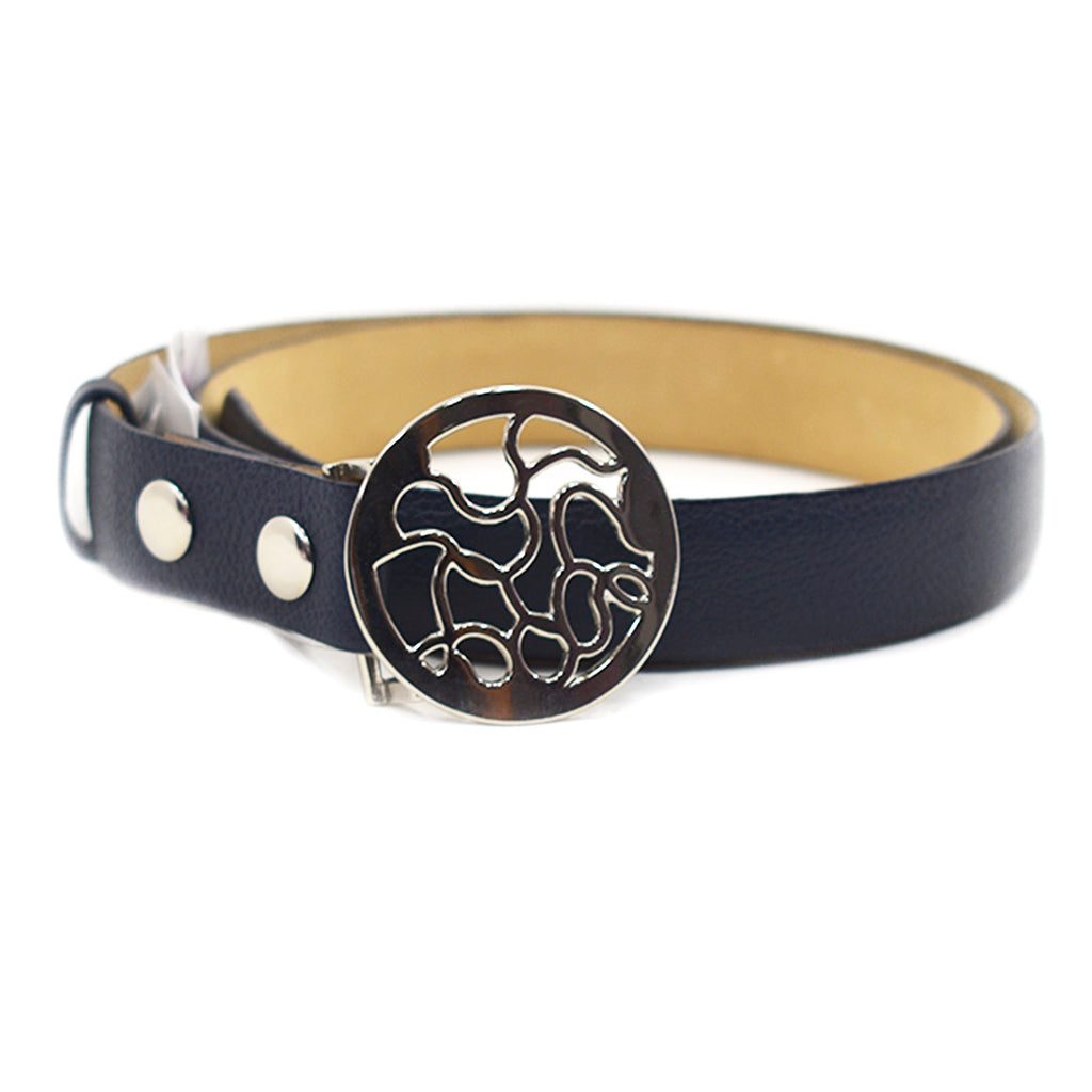 Sandy Navy Leather Belt